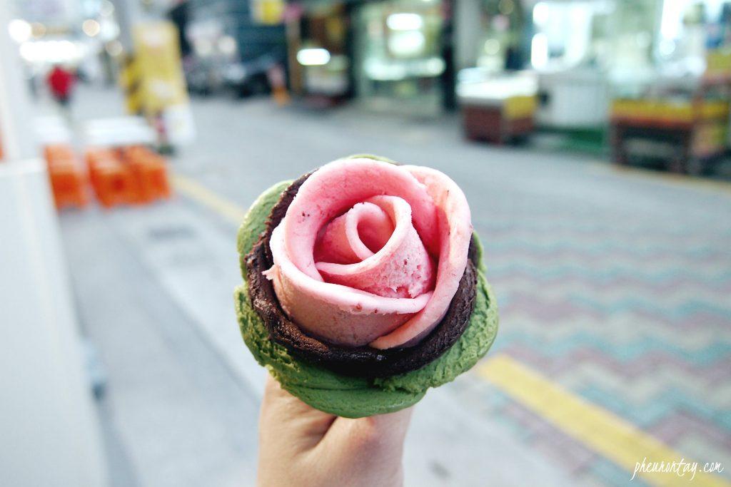 rose shape gelato korea
